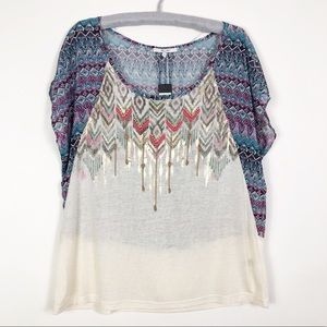 Miss me embellished embroidered with beads top